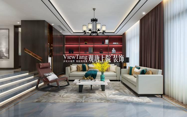 透露着天圆地方的道家思想,而方与圆的呼应更让客厅整体充满端庄的